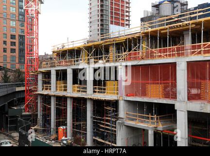 Construction of concrete foundation of new building for New construction building process