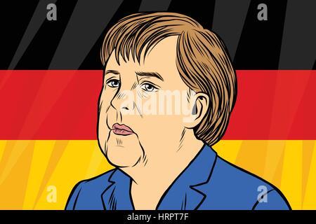 Chancellor Angela Merkel, German flag. Vintage comics cartoons illustration pop art retro vector - Stock Photo