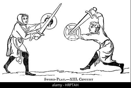 An illustration of Sword Play in the 13th Century scanned at high resolution from a book printed in 1831.  Believed - Stock Photo