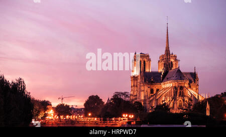 Notre Dame de Paris by Night - Stock Photo