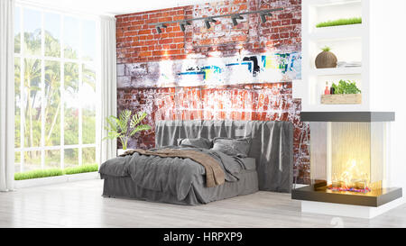 beautiful modern bedroom interior with fireplace 3d rendering stock photo