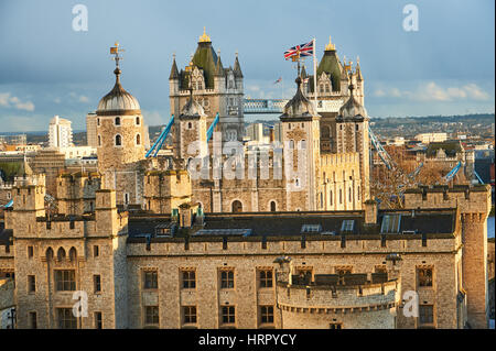 The Tower of London in the city of London has stood since William the Conqueror first built the White Tower, today - Stock Photo