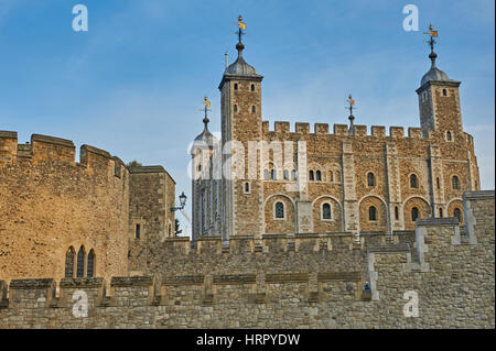 The Tower of London is an iconic landmark popular with tourists. - Stock Photo
