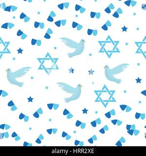 Happy Israel Independence Day seamless pattern with flags and bunting. Jewish Holidays endless background, texture. - Stock Photo