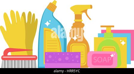 Cleaning supplies, cleaning tools set. Household chemicals. Vector illustration. - Stock Photo