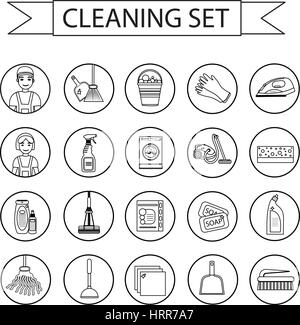 Set of icons for cleaning tools. Modern, line style. Cleaning design elements. Vector illustration - Stock Photo
