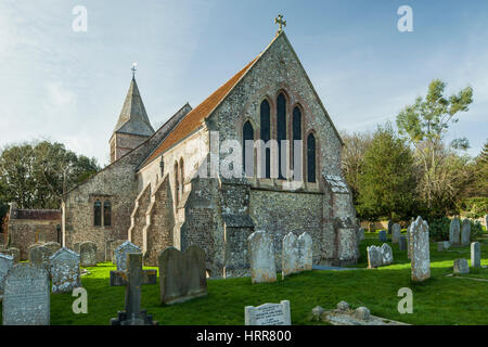 Early spring afternoon in Slindon, West Sussex, England. - Stock Photo