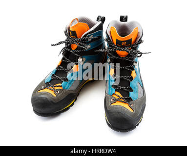 Scarpa Rebel Lite GTX hiking walking boots from above front isolated on a white background. England UK - Stock Photo