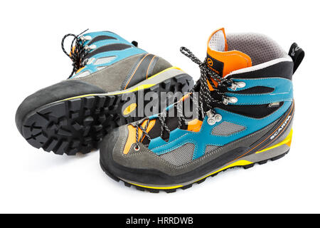 Scarpa Rebel Lite GTX Gore-Tex lined hiking boots with Vibram rubber sole isolated on a white background. UK - Stock Photo