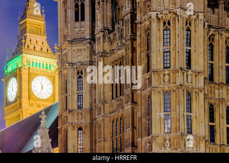 Close up of Big Ben at night time - Stock Photo