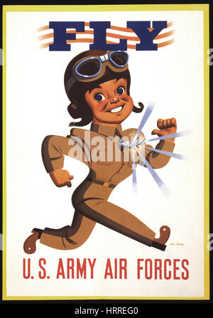 Pilot with Shining Wings Medal, 'Fly, U.S. Army Air Forces', World War II Recruitment Poster, by Stan Ekman, USA, - Stock Photo