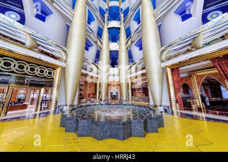 Dubai, UAE - January 08, 2012: View of Burj Al Arab lobby. Burji Al Arab is a luxury hotel located in Dubai, United - Stock Photo
