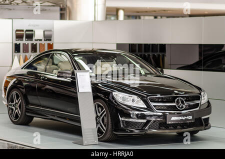 Kyiv, Ukraine - April 21th, 2014: Showroom. Mid-size luxury car Mercedes-Benz CL 63 AMG Coupe - Stock Photo