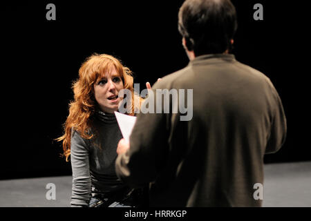 BARCELONA - JAN 13: The director of the Barcelona Theater Institute, teaches his actress in the comedy Shakespeare - Stock Photo