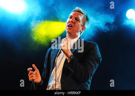 BARCELONA, SPAIN - MAY 30: The Walkmen band performs at Arc de Triomf for free on May 30, 2012 in Barcelona, Spain. - Stock Photo
