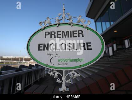 A general view of the Premier Enclosure sign at Dunstall Park