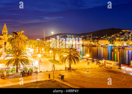 TROGIR, CROATIA - SEPTEMBER 18: This is Trogir old town at night a popular tourist destination in Croatia and a - Stock Photo
