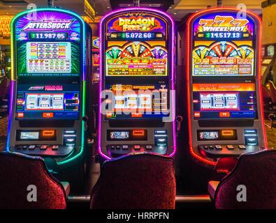 Las Vegas, NV - 28 July 2016:  Slot machines inside a Las Vegas casino - Stock Photo