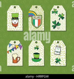Saint Patrick's Day traditional symbols collection. Set of greeting and invitation cards. - Stock Photo