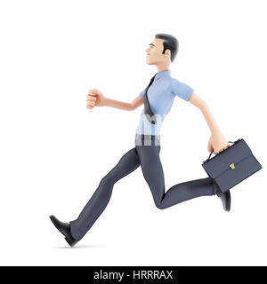 Businessman running with briefcase. Isolated, contains clipping path - Stock Photo