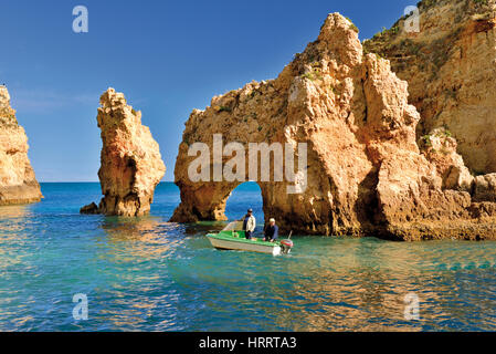 Algarve: View to the rock formations and cliffs of Ponta da Piedade - Stock Photo