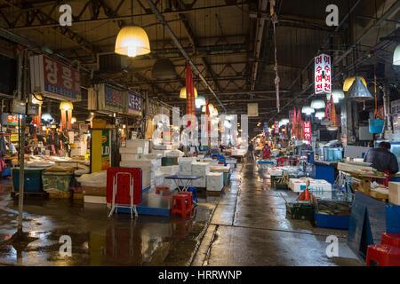 View of inside the Noryangjin Fisheries Wholesale Market (or Noryangjin Fish Market) in Seoul, South Korea. - Stock Photo