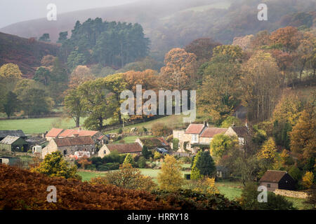 Dibble Bridge Farm in Autumn, near Castleton, North York Moors National Park - Stock Photo
