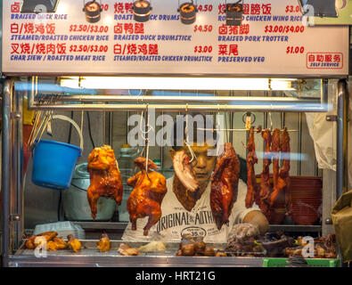 fried chicken, eating stalls, Indian fast foods, district Little India, Singapore, Asia, Singapore - Stock Photo