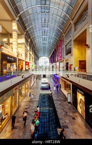 Shopping Center The Shoppes, Mall, at Marina Bay Sands, Singapore, Asia, Singapore - Stock Photo