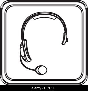 figure emblem headphone service icon - Stock Photo