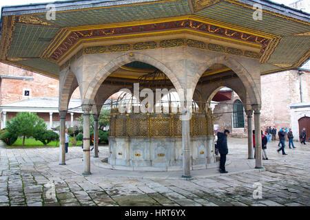Fountain (Şadırvan) for ritual ablutions. Hagia Sophia or Ayasofya. Istanbul, Turkey. - Stock Photo