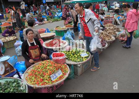 Laos, Vientiane, Talat Sao, morning market, people, food, - Stock Photo