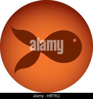 orange emblem fish icon - Stock Photo