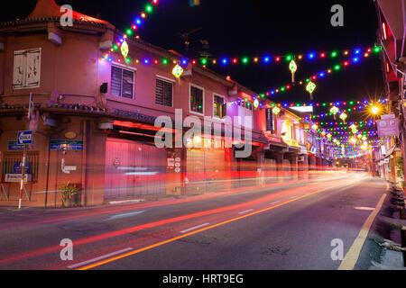 Malacca, Malaysia - 09 August 2014: Holiday illumination on the street of Malacca during Hari Raya Puasa celebrations on 09 August 2014, Malacca, Mala