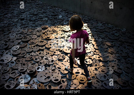 Berlin. Germany. Jewish Museum. Shalekhet (Fallen Leaves) art installation in the Memory Void, by Israeli artist - Stock Photo