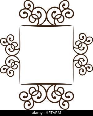 silhouette square frame decorative ornament swirl design - Stock Photo