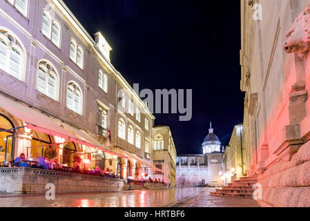 DUBROVNIK, CROATIA - SEPTEMBER 22: This is one of the main streets in the center of Dubrovnik's old town with cafes - Stock Photo