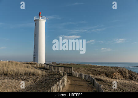 Way to the Grosse Terre lighthouse in Saint Hilaire de Riez, France - Stock Photo