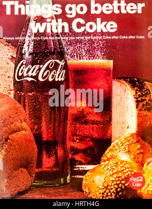 1960s magazine advertisement for Coca Cola.  Things go better with Coke. - Stock Photo