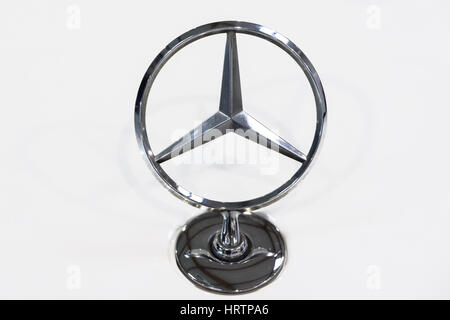 Krakow, Poland - February 23, 2017: Mercedes Benz Sign Close Up during Mobile-IT Exhibition. Mercedes is German - Stock Photo