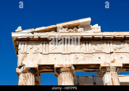 Detail of antique greek temple in Athens - Stock Photo