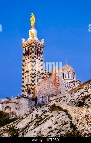 Catholic Basilica of Our Lady of the Guard or Notre Dame De La Garde church on the hill in Marseille, France - Stock Photo