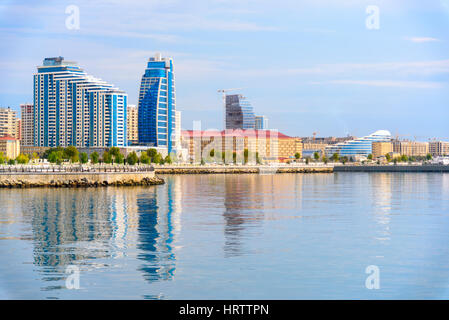 Baku, Azerbaijan - September 12, 2016: View of Baku city from New City Park. Baku is the largest city on the Caspian - Stock Photo