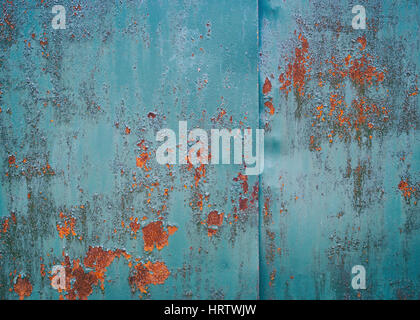 Vintage background. Old iron sheet painted in blue paint. The paint peeled off. in the ability to make some places - Stock Photo