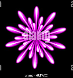 Firework salute burst in black night background. Vector illustration. - Stock Photo