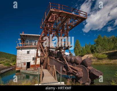 Boom with buckets at historic gold mining dredge in Sumpter in Blue Mountains, Oregon, USA - Stock Photo