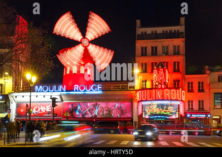 Paris, France - December 28, 2016: The picturesque famous cabaret Moulin Rouge located close to Montmartre in the - Stock Photo