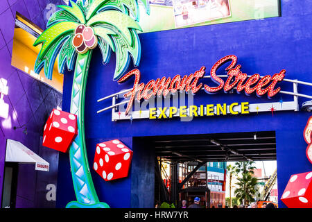 Las Vegas - Circa December 2016: Entrance to the Fremont Street Experience in Downtown Las Vegas III - Stock Photo