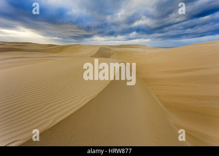 Sand dunes of Stockton beach in Australia under cloudy sky showing results of wind erosion on soft sand terrain. - Stock Photo