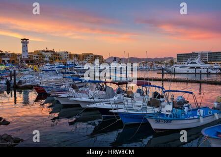 Boats in the marina at Cabo San Lucas, Baja California Sur, Mexico. - Stock Photo